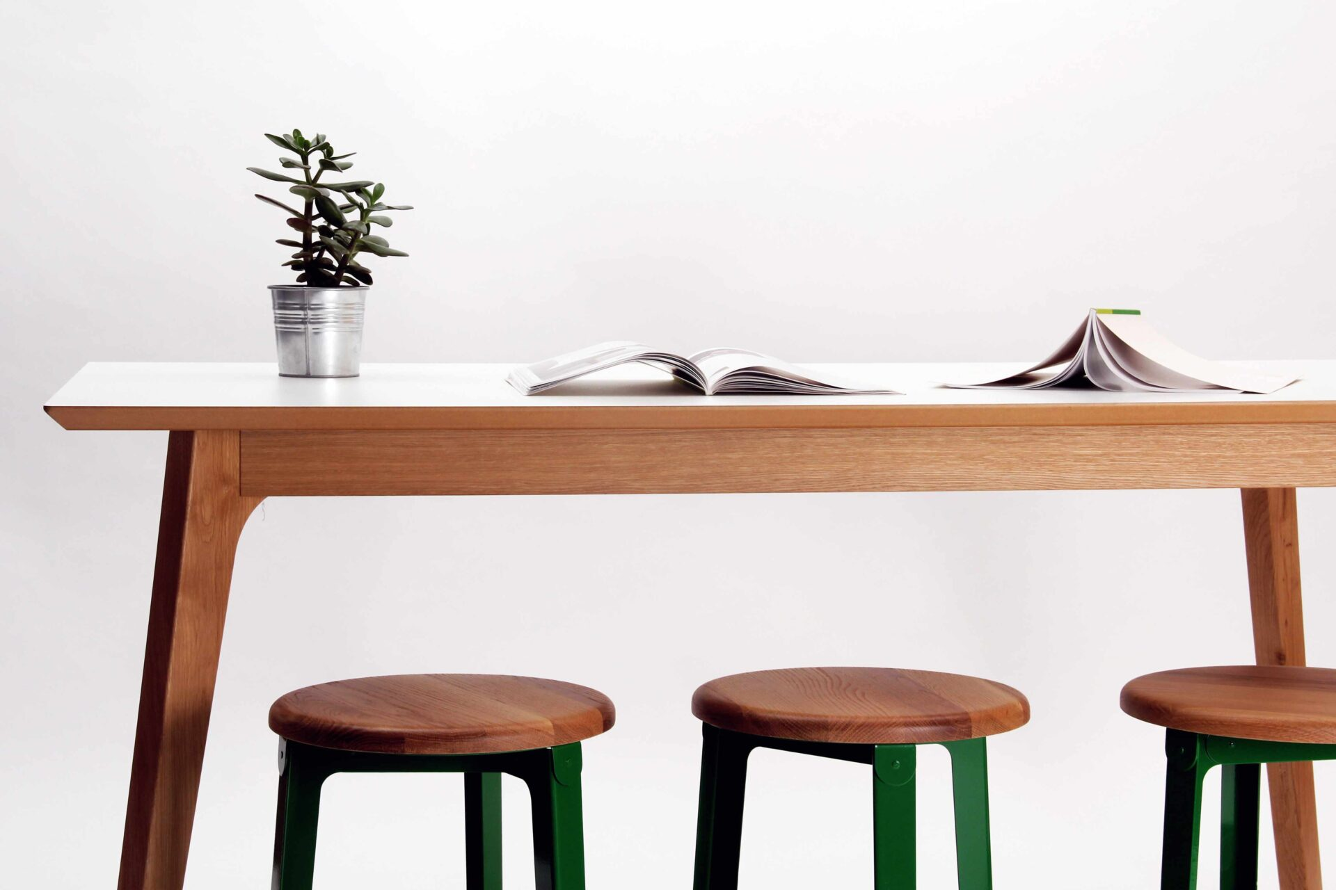 Dalby-table-end-detail-with-construct-stools-and-money-plant